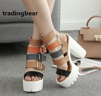 Fashion Womens Buckles Thick Platform Chunky High Heels Mult...