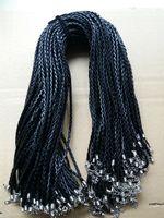 4mm Negro PU Cuerda Cuerda de Cuero Cuerda de Joyería Cuerda de corchete de la Langosta Para DIY Craft Collar Colgante de Joyería 18 '' 20 '' 22 '' 24 ''