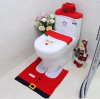 Atacado-Natal Decoração Xmas Happy Santa Toilet Seat Cover e Rug Bathroom 3PC Set