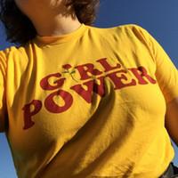 63679e0d2b Verão Menina Poder Rose Camiseta Carta acima de 90% algodão Branco Amarelo  Cinza Preto Algodão