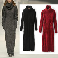 New Autumn Winter Women' s Vintage High Roll Neck Ribbed...