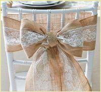 Naturally Elegant Burlap Lace Sashes Fajas Silla de Yute Tie Bow Para Rústico Banquete de Boda Evento Decoración 15 * 240 cm