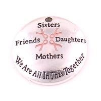 乳がん意識ピンクリボンシスターズフレンズ娘母親私たちはこの一緒にいますチャームペンダント