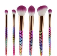 6 Pcs Fil Pinceaux De Maquillage Set Arc-en-cheveux Marmid Poudre Cosmétique Blush Foundation Brush