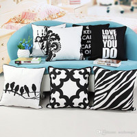 Wholesale Black and White Printed Cotton Canvas pillowcase c...