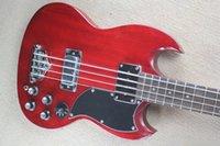 Angus Young 4 Strings Cherry SG Doppia chitarra elettrica a doppia cutway, 5 interruttore a levetta, hardware cromato