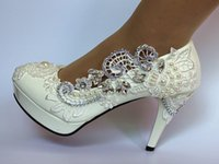 New white lace shoes heel fish mouth high- heeled shoes water...