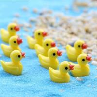 100 Pièces / Pack Mini Résine Canard Jaune 1.8 * 1.5CM Fée De Jardin Figurines Jardin Pots Miniature Canard