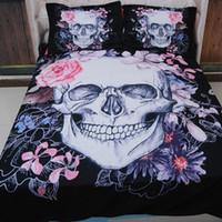 Vendita calda di alta qualità 3 pz cadavere sposa cranio 3d set di biancheria da letto singola regina king size copripiumino federe set rosa letto di fiori