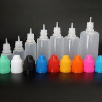 50pcs 5ml 10ml 15ml 20ml 30ml 50ml leeren E Flüssigkunststoff Tropfflaschen mit Kind Proof Bottle Bunte Caps Nadelspitzen E Flüssigkeit
