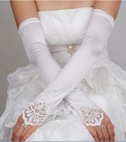2017 nieuwe bruiloft handschoenen vingerloze lange bruids handschoenen met kant geappliceerd trouwjurk elegante voorraad bruiloft accessoires