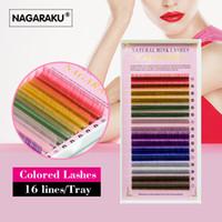 Wholesale- Nagaraku 2トレイセット、16ロー/トレイ、8色、虹色のまつげの延長、カラーまつげ、カラフルなまつげの拡張