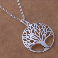 Einzelteil 925 Mode das meiste populäre heiße Silber überzogene Baum des Lebens-hängende Halskette 18inch Großhandelspreis-freies Verschiffen