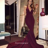 2017 Nouvelle Bourgogne Sexy V-neck Robe de bal Arabe sans manches longues femmes Wear Occasion spéciale Robe Evening Party Gown Custom Made Plus Size
