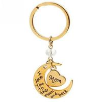9 Stil Brief Keychain Mom Tochter Ich liebe dich zum Mond und zurück Schlüsselanhänger Schlüsselanhänger Charms Weihnachtsgeschenk