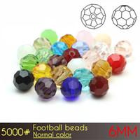 熱い販売ブリリアントビーズガラスフットボールビーズ6mmノーマルカラーA5000 100ピース/セットルースラウンドガラスビーズ