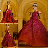 Luxury Lace Ball Gown Prom Dresses Appliqued Backless Jewel ...