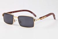 Originais óculos de sol de madeira para homens 2020 novo sol dos homens do esporte da forma de búfalo chifre óculos full frame semi-rimless lente transparente preto marrom