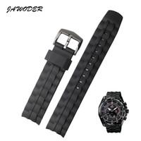 JAWODER Bracelet de montre 28mm en caoutchouc de silicone noir Bracelet de montre en acier inoxydable Remplacer électronique pour Casio EF-550 Montre de sport
