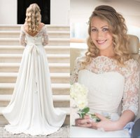 2016 Cheap Country Wedding Dresses Sexy Sheer Lace Off the Shoulder Ivory 3 4 Long Sleeve A-Line Backless Beach Bridal Gowns Court Train