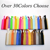100 шт. / лот (30 цветов вариант) новая женщина завязывают ленты волосы галстук хвост держатели эластичные эластичные повязки дети / женщины аксессуары для волос