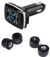 Carbest Wireless TPMS con 4 sensores externos, Encendedor de cigarrillos Pantalla LCD con presión de los neumáticos, Indicador de temperatura, para el coche