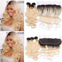 Blonde 1b 613 Pejos ondulados de cabello humano con orejas de onda del cuerpo frontal 13x4 a orejas frontales con el pelo de Ombre tejidos