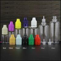 PET 5ml 10ml 15ml 20ml 30ml 50ml 60ml childproof ve kurcalama belirgin kapaklı boş plastik damlalık şişe e sıvı e suyu şişeleri