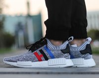 New arrive NMD Runner R1 Primeknit PK Tri- Color Red white bl...