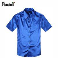 Atacado- Masculino verão camisas de manga curta dos homens de seda slim fit shirt Homens vestido camisa social smoking camisa hemden preto / vermelho / branco