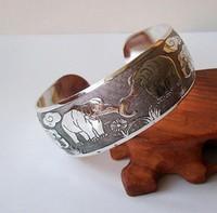 Wholesale bon marché bracelet au large bracelet en argent au Tibet chinois avec Elephan