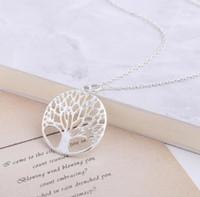 Beste Geschenkrunde Löcher, die Baum-Anhänger-Lebensbaum-Halskette WFN441 (mit Kette) Mischungsauftrag 20 Stück viel