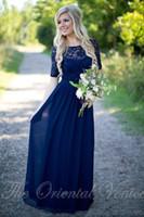 Dantel Sequins Genç Koyu Donanma Uzun Gelinlik Modelleri Şifon Balo Abiye Kat Uzunluk Kadın Uzun Nedime Abiye Kısa Kollu