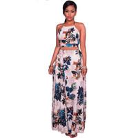 여자 패션 우아한 등받이 두 조각 세트 이브닝 파티 드레스 여름 꽃 인쇄 작물 꼭대기와 긴 치마 세트