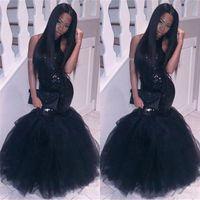 2018 Elegancka Czarna Dziewczyna Syrenka Afryki Prom Dressesevening Wear Plus Size Długa Seksowna Seksowna Backless Gownscheap Party Homecoming Dress
