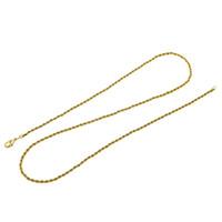 Marca DIY Cadenas Collar para colgantes Hombres / Mujeres Joyería Color oro Acero inoxidable 3mm Cadena de cuerda torcida al por mayor