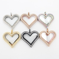 Gioielli Panpan! Medaglione galleggiante 35mm a forma di cuore con chiusura a forma di cuore in acciaio inossidabile 316l con cristalli