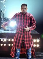Оптово Hot Sale New Extended Long High Low Side Zipper Unisex Man Swag Рубашка Tshirt Футболка Hip Hop Мужчины Streetwear Хем плед Синий Красный