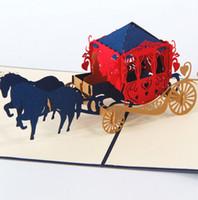 Tarjetas de invitaciones de boda Carriage 3D Cut Cut Cutting Cutting Pop Up Kirigami Card Tarjetas Postales Personalizadas Deseos Regalos