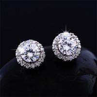 Nuovo arrivo Best Friends 18k Orecchini placcati in oro bianco Big Diamond Orecchini per le donne Orecchini zirconi bianchi
