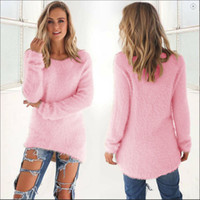 Wholesale-Cozy Women Fashion Autumn Winter Warm Mohair O-Neck Women Pullover Long Sleeve Casual Loose Sweater Knitted Tops