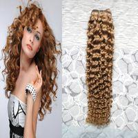 Brasilianisches Jungfrau-Haar-Honig-blonde Webart verworrene lockige Bündel 100g 1pcs menschliches Haar bündelt blondes brasilianisches Haar-Doppelschuß