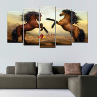 5 Piece Brown Horse Modern Home Wall Decor Canvas Picture Ar...