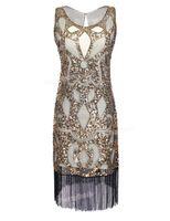 الجملة- Prettyguide النساء 1920's الترتر آرت ديكو الجوف بيزلي القبيلة كوكتيل مستوحاة الزعنفة اللباس غاتسبي العظيم اللباس