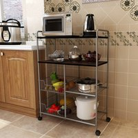 Metal Wire Kitchen Basket Trolley Rack with Board