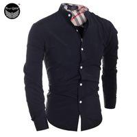 Al por mayor 2016 hombres los hombres de moda camiseta clásica tela escocesa Costura Camisa Masculina camisa de manga larga camisas masculinas Hombres camiseta XXL IYW2