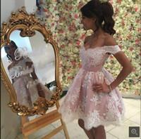 Fuera del Hombro Blush Pink Encaje Blanco Apliques Vestidos de Fiesta Cortos Vestidos de Fiesta de Cóctel de Alta Calidad Por Encargo