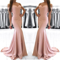 Cheap 2017 Long Mermaid Evening Dresses Blush Pink Off Shoulder Sweetheart Zipper Back Satin Sweep Train Plus Size Formal Party Prom Gowns