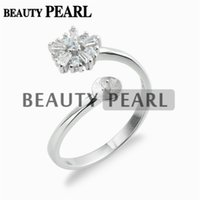4 Pieces Cubic Zirconia Flower Ring Settings Gift 925 Sterli...