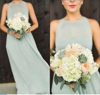 Simple Chiffon Long Bridesmaid Dresses 2019 Cheap Halter Sleeveless Maid Of The Honor Party Gowns Formal